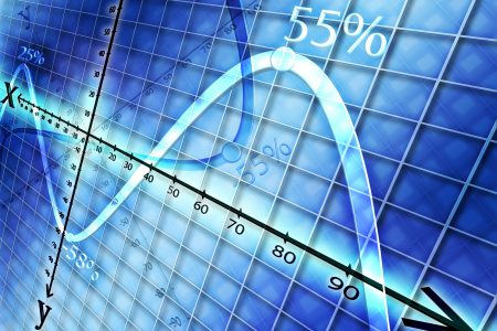 on a blue background shows a graph with curves showing the profit and loss